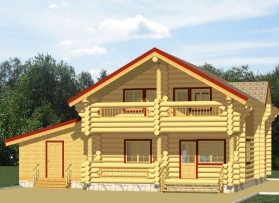 Round-log house project. <br>Pine house 252.4